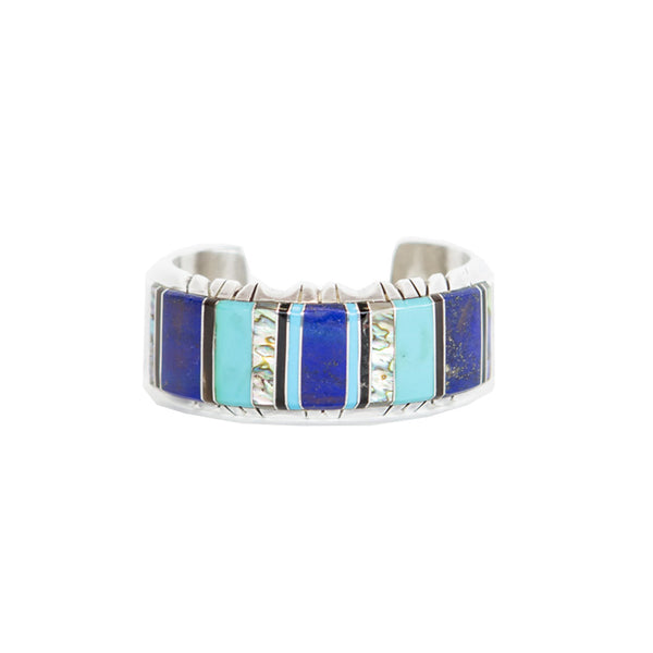 Turquoise and Lapis Silver Cuff