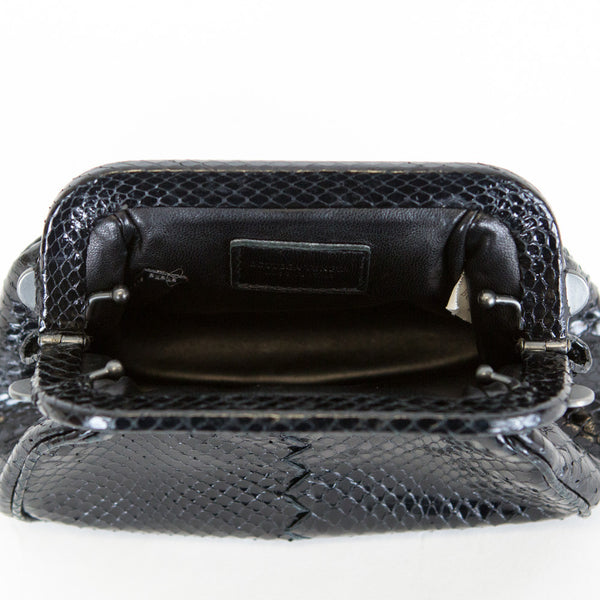 Bottega Veneta | Black Snakeskin Clutch
