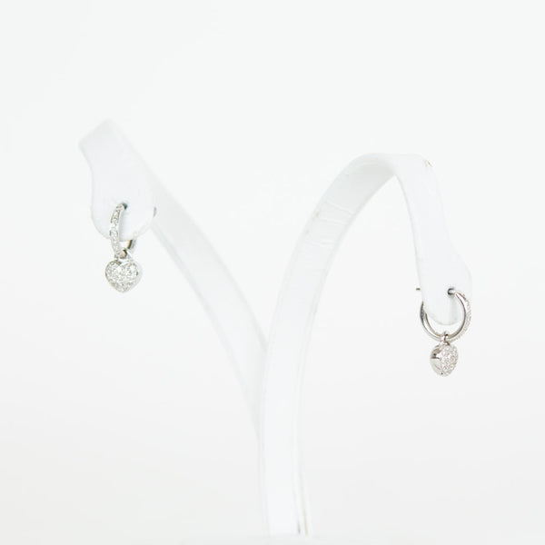 18K White Gold Heart Earrings