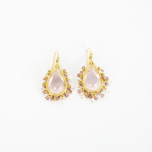 Fern Freeman | Gold And Pink Chandelier Earrings