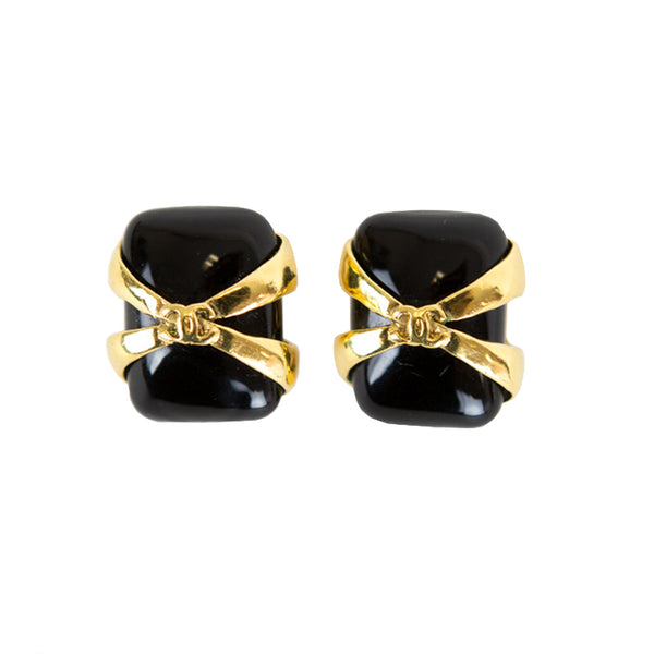 Chanel | Black And Gold Clip On Earrings