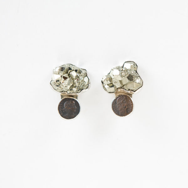 Rebecca Collins | Coin and Pyrite Earrings