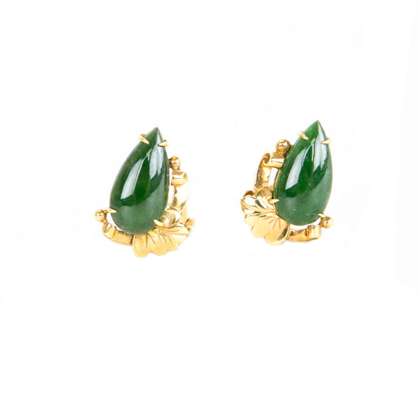 Ming's Jewelry | Gold and Jade Leaf Earrings
