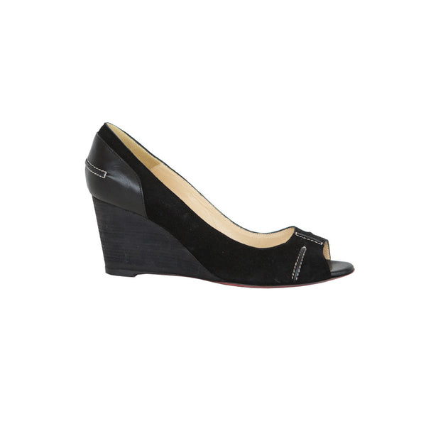 Christian Louboutin | Black Peep Toe Wedge