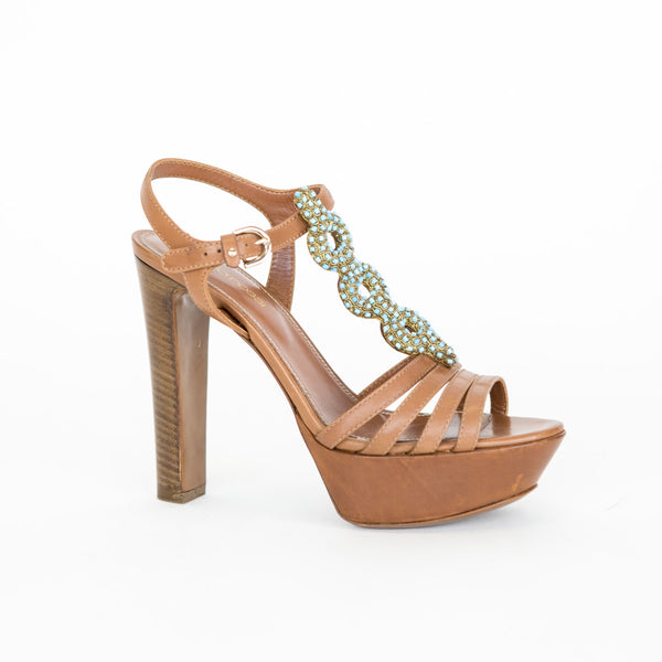Sergio Rossi | Brown Beaded Leather High Heels