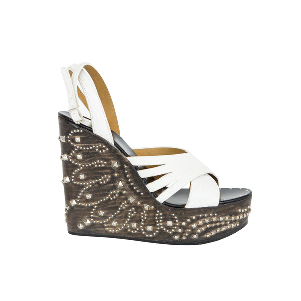 Roberto Cavalli | White Leather Studded Wedges