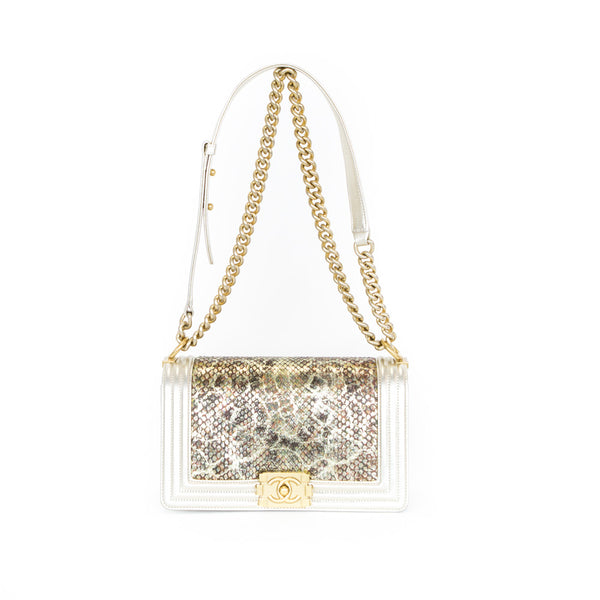 Chanel | Metallic Gold Snakeskin Handbag