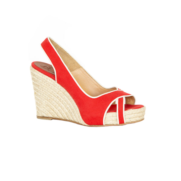 Christian Louboutin | Red Espadrille Wedges