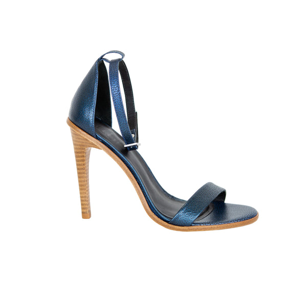 Tibi | Blue Metallic Leather Sandals