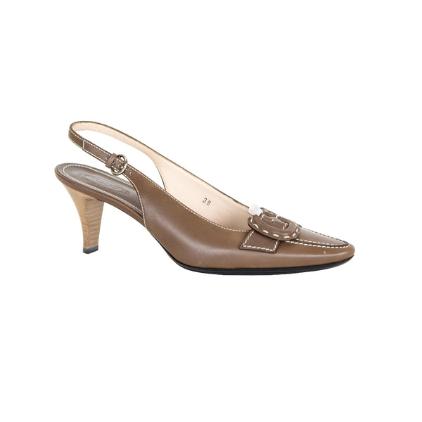 Tod's | Brown Leather Slingback Heels