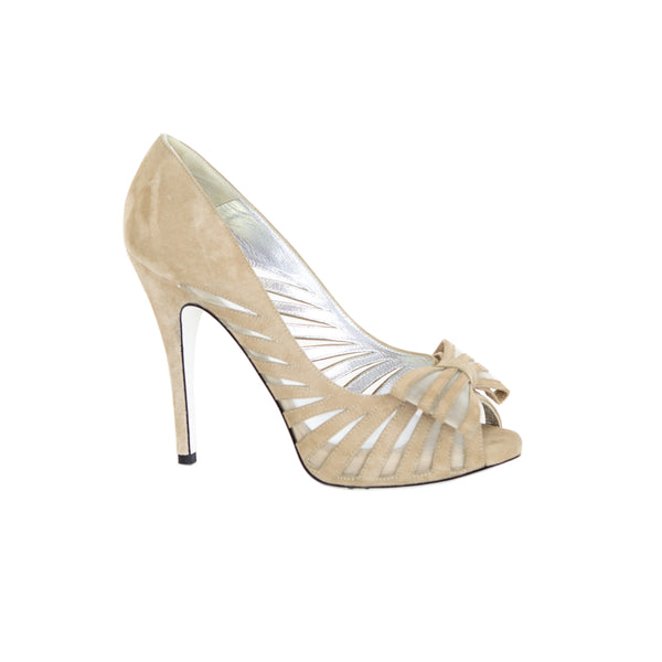 Ron White | Beige Suede & Mesh Pumps