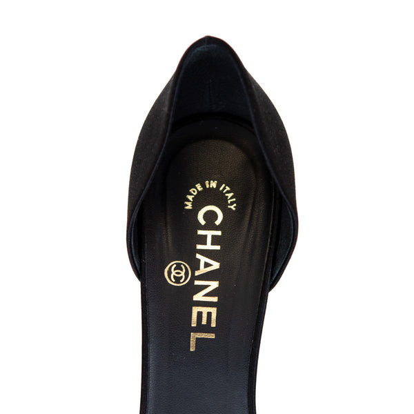 Chanel | White Petal Satin Heels