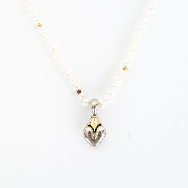 Lagos | Pearl Knotted Heart Necklace