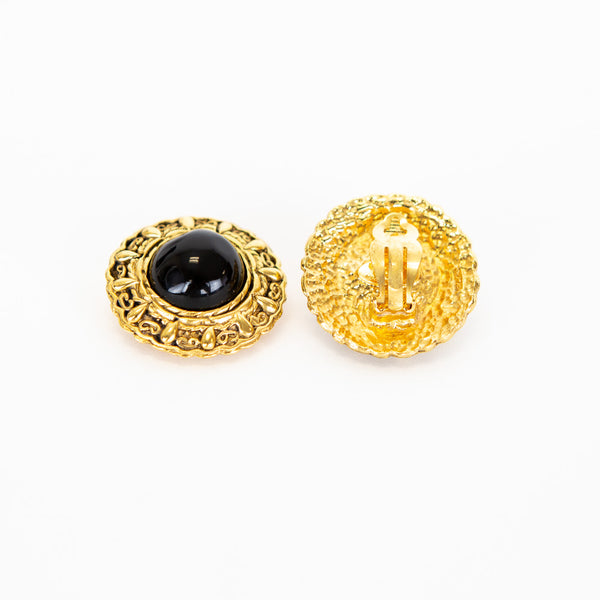 Chanel | Filigree Black Glass Clip-On Earrings