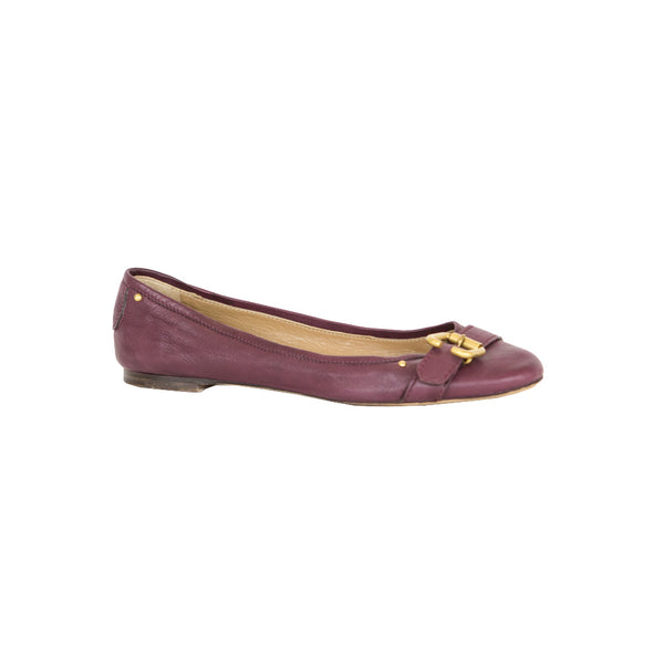 Chloe | Burgundy Leather Flats