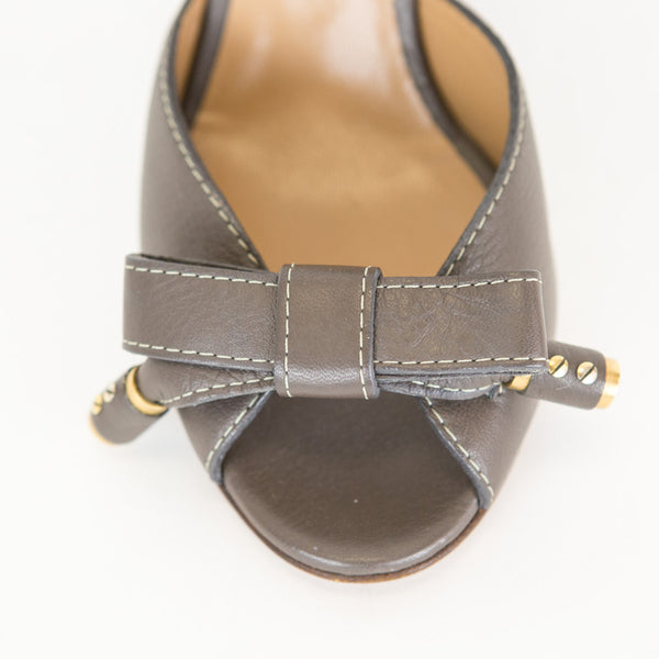 Chloe | Gray Leather Wedge Sandal