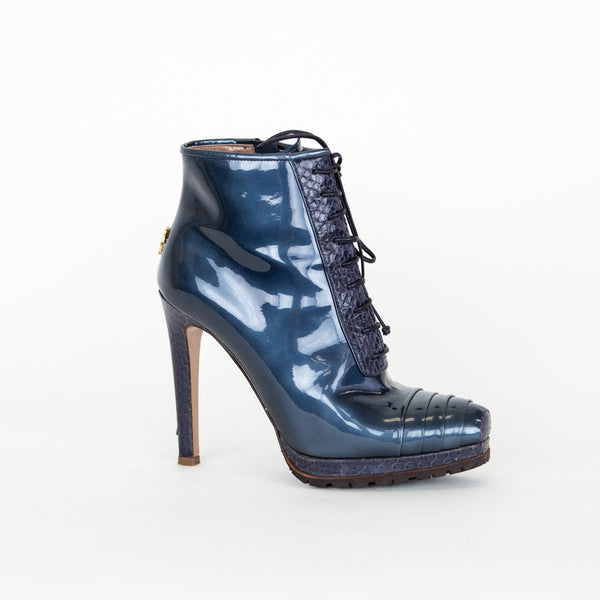 Roberto Cavalli | Blue Patent Lace-Up Booties