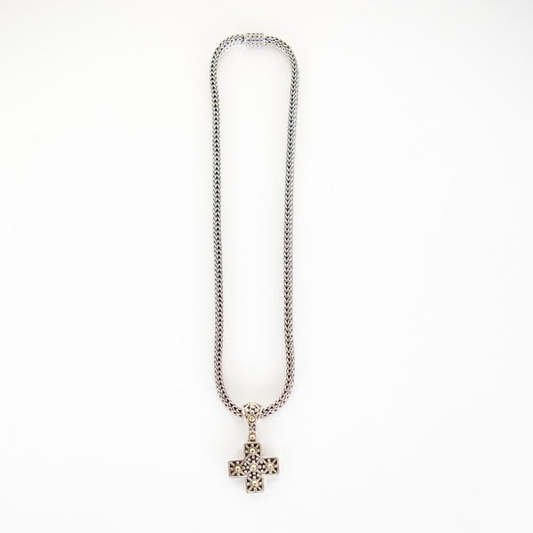John Hardy | Cross Pendant On Wheat Link Chain Necklace