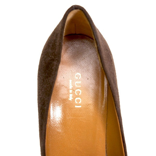 Gucci Brown Suede Platform Pumps With Designer label
