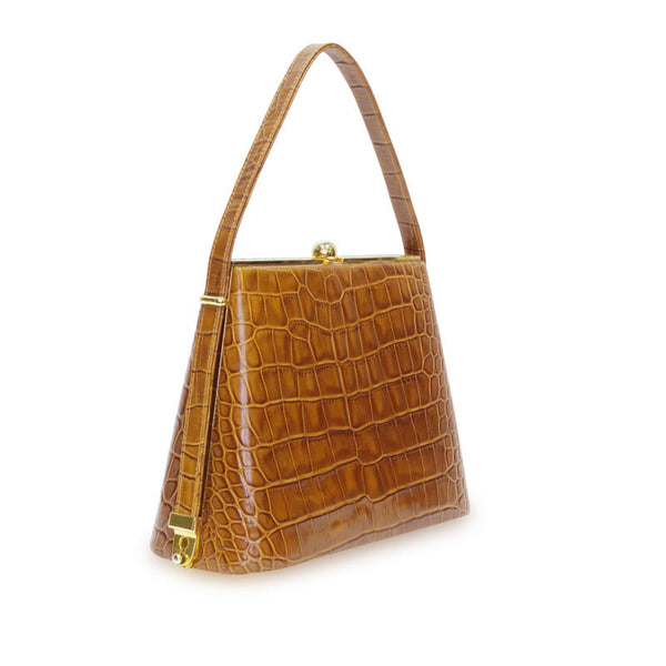 Falchi | Frame Handbag Leather Crocodile Tan