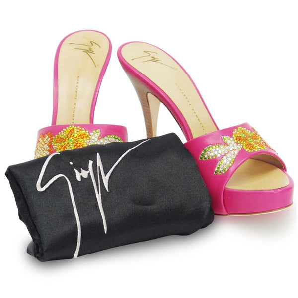 Giuseppe Zanetti Pink Platform Heels With Wooden Heel with dust bag