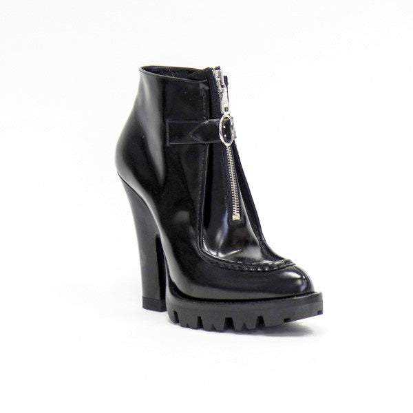 Prada | Black Leather Platform Booties