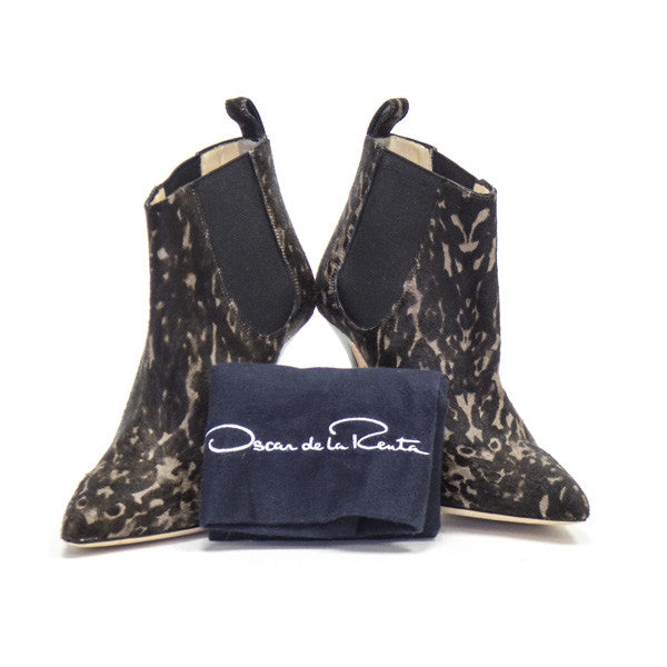 Oscar De La Renta Pony Hair Booties with dust bag