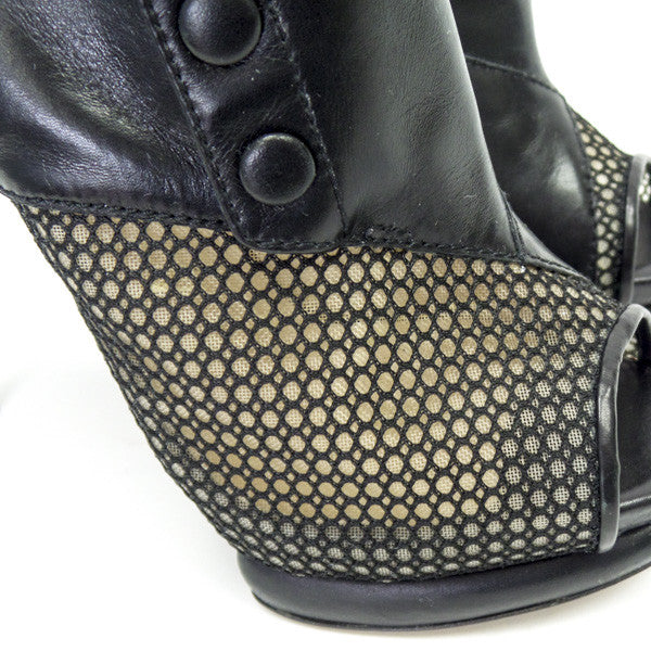 Nicholas Kirkwood Black Leather With Asymmetrical Mesh Ankle Boots