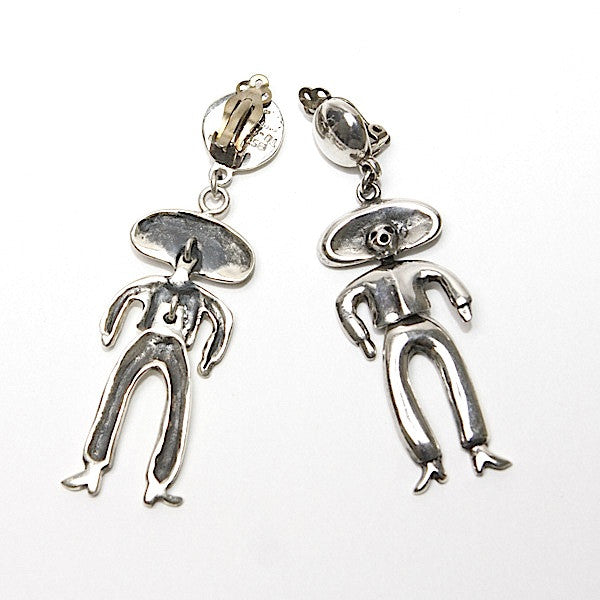 Emilia Castillo Dangling Man Clip Earrings Sterling Silver