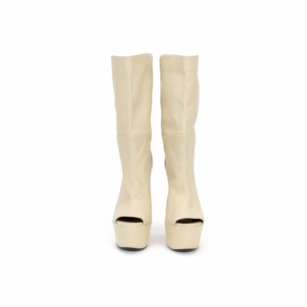 Gianmarco Lorenzi | Cream Leather Wedge Booties