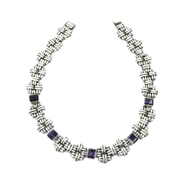 Brenda Schoenfeld Clustered Sterling Silver Amethyst Necklace