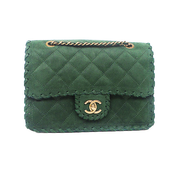 Chanel | Hunter Green Whipstich Flap Bag