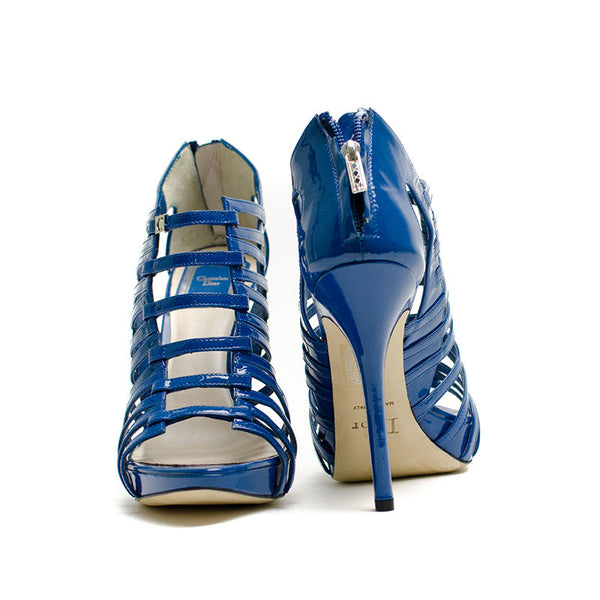 Christian Dior Blue Caged Heels With Zip up back