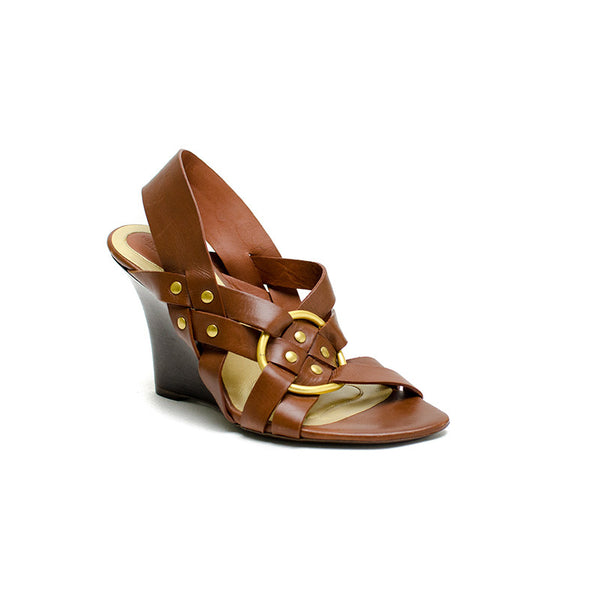 Bottega Veneta  Brown Leather Wedge Heel