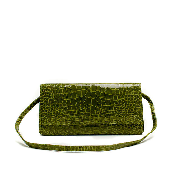 Manolo Blahnik Green Alligator Leather Handbag With A Snap Closure