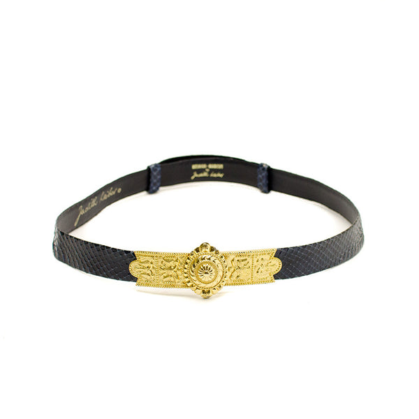 Judith Lieber Navy Blue Python Belt With Gold Buckle