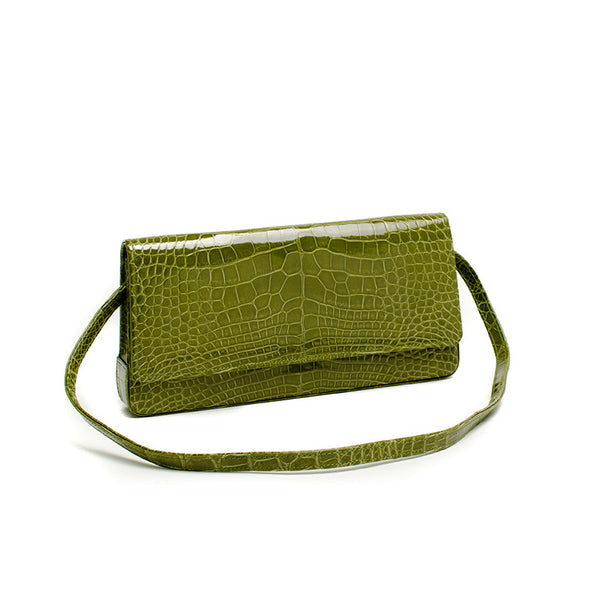 Manolo Blahnik Green Alligator Leather Handbag With A Removable Strap