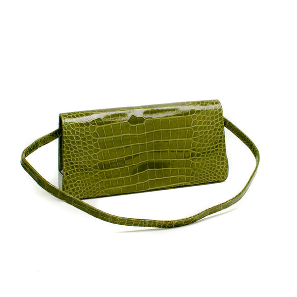 Manolo Blahnik Green Alligator Leather Handbag