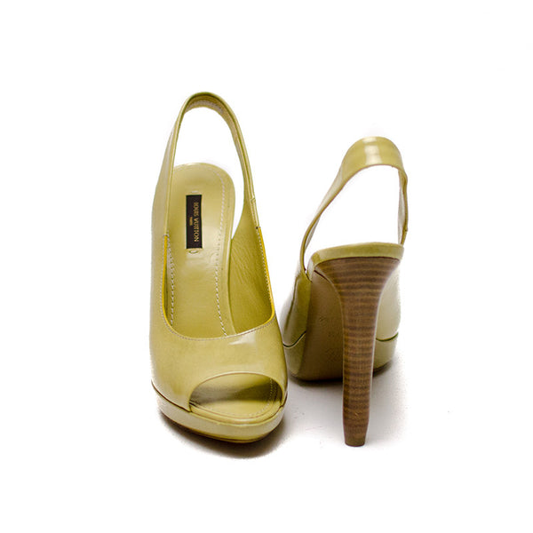 Louis Vuitton Light Olive Wooden Cylinder Heels