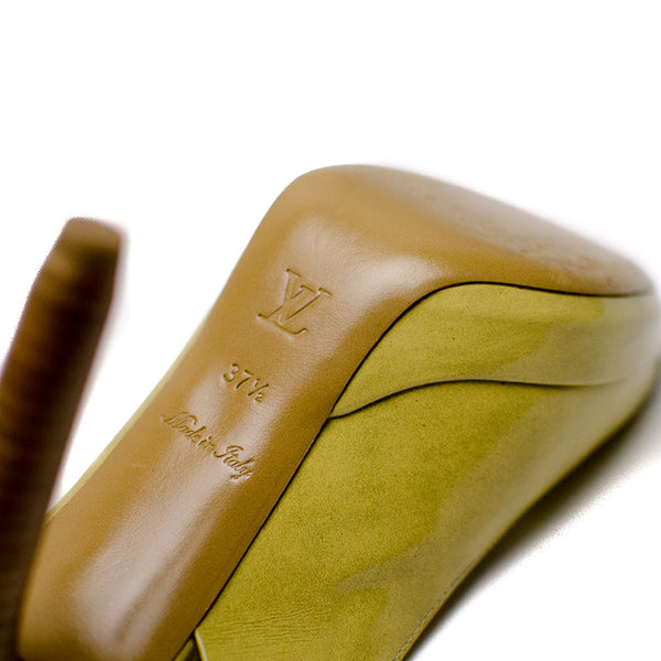 Louis Vuitton Light Olive Slingback Pumps Made in Italy