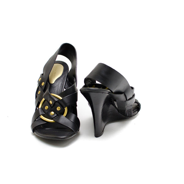 Bottega Veneta Black Leather Wedge Heel