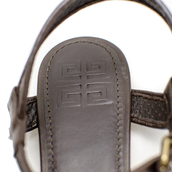 Givenchy Brown Leather Sandals pre owned