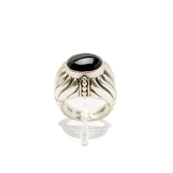 Lagos 18K Sterling Silver Ring With A Fluted Band