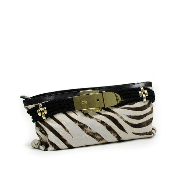 Jimmy Choo Zebra Print Clutch Slanted View