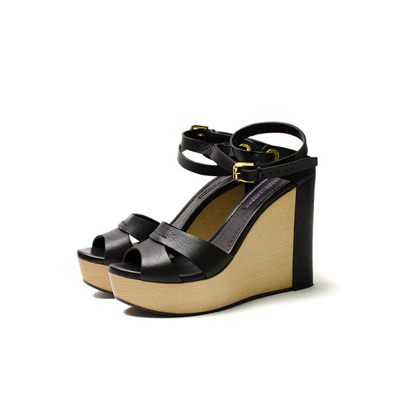 Ralph Lauren Black Leather Wedge Shoes