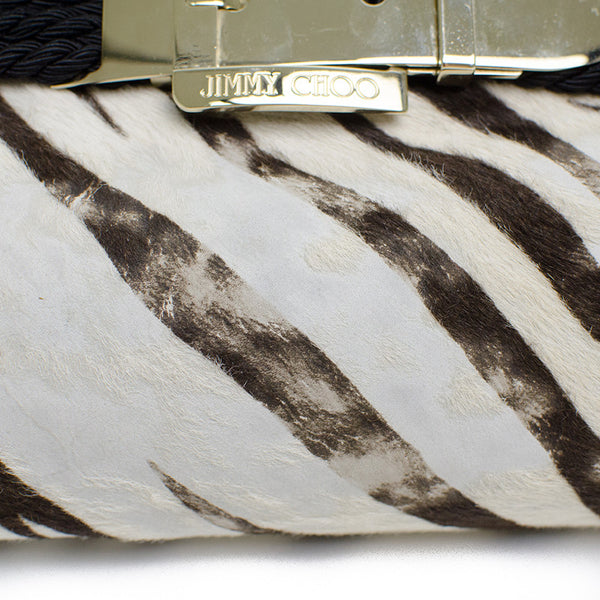 Jimmy Choo Zebra Print Clutch Label