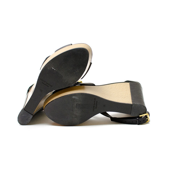 Ralph Lauren Black Leather Wedge Shoes With Leather Soles