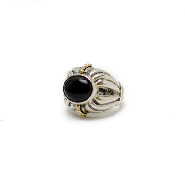 Lagos 18K Sterling Silver Ring With A Fluted Band & Black Onyx Cabochon
