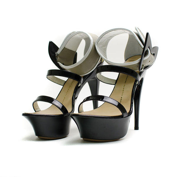 Giuseppe Zanotti Patent Leather Platform Heels & two cross straps
