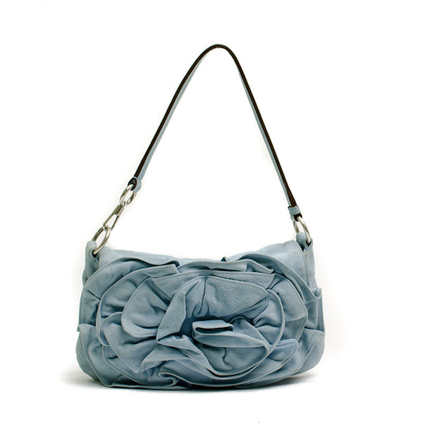 YSL Light Blue Suede Handbag